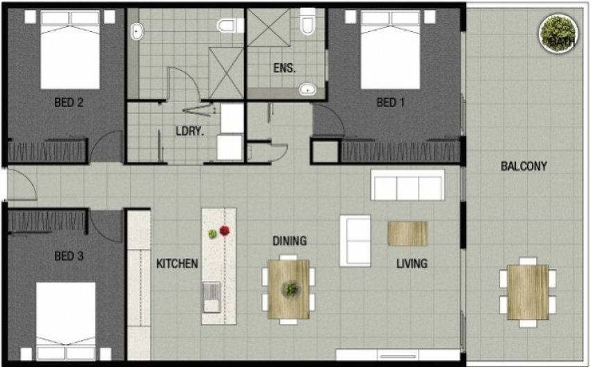 Park Edge Apartment 208 Floorplan