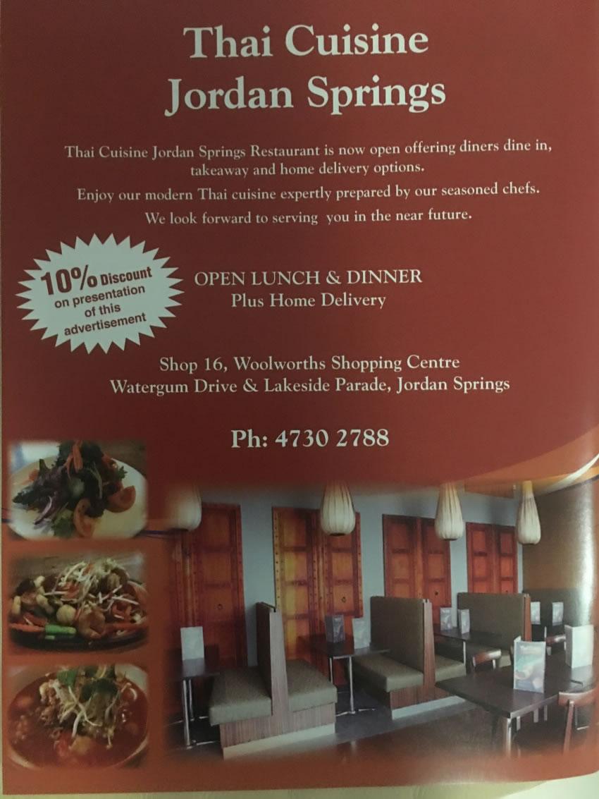 Thai Cuisine Jordan Springs  - Full Trade $65,000 negotiable